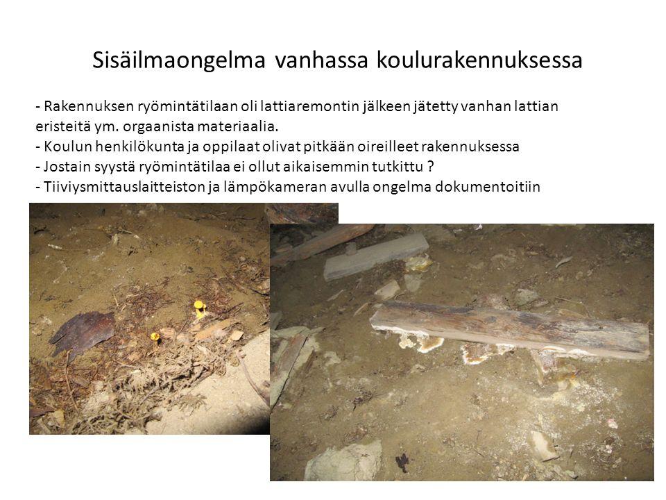 Sisäilmaongelma vanhassa koulurakennuksessa - Rakennuksen ryömintätilaan oli lattiaremontin jälkeen jätetty vanhan lattian eristeitä ym.