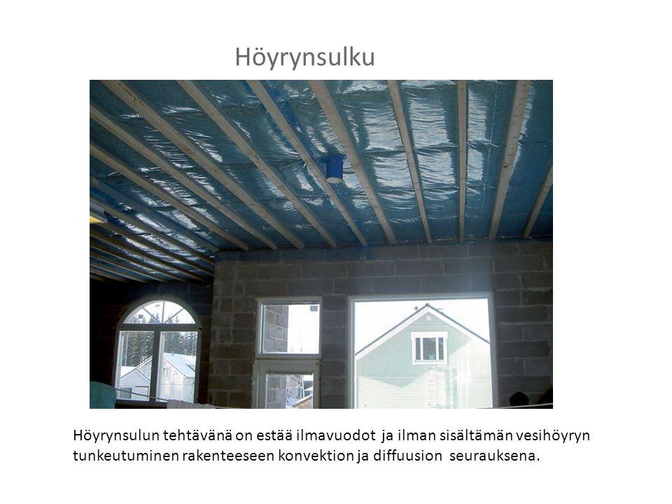 Höyrynsulku Höyrynsulun tehtävänä on estää ilmavuodot ja ilman sisältämän vesihöyryn tunkeutuminen rakenteeseen konvektion ja diffuusion seurauksena.
