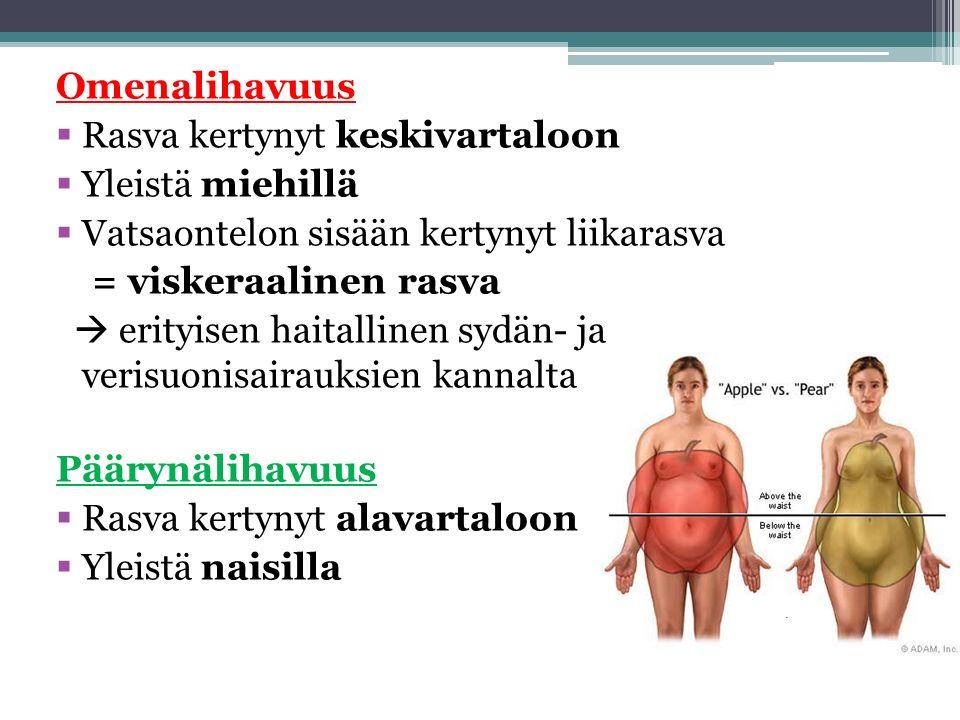 Omenalihavuus  Rasva kertynyt keskivartaloon  Yleistä miehillä  Vatsaontelon sisään kertynyt liikarasva = viskeraalinen rasva  erityisen haitallinen sydän- ja verisuonisairauksien kannalta Päärynälihavuus  Rasva kertynyt alavartaloon  Yleistä naisilla