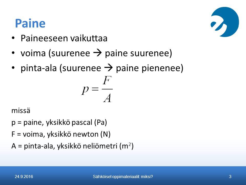 Paine Paineeseen vaikuttaa voima (suurenee  paine suurenee) pinta-ala (suurenee  paine pienenee) missä p = paine, yksikkö pascal (Pa) F = voima, yksikkö newton (N) A = pinta-ala, yksikkö neliömetri (m 2 ) 24.9.2016Sähköiset oppimateriaalit: miksi?3