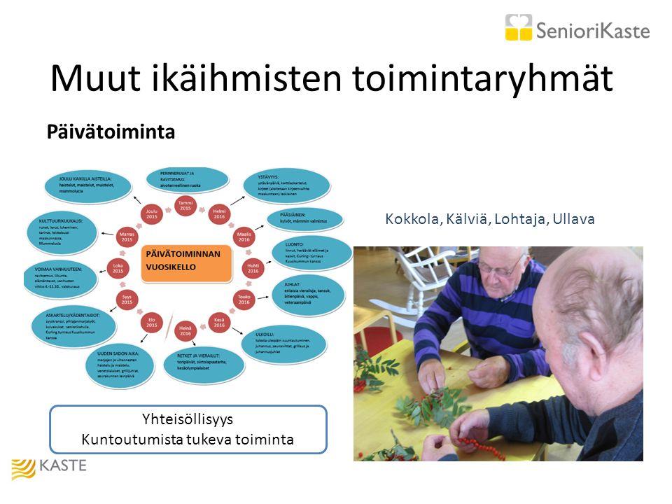 Muut ikäihmisten toimintaryhmät Päivätoiminta Kokkola, Kälviä, Lohtaja, Ullava Yhteisöllisyys Kuntoutumista tukeva toiminta