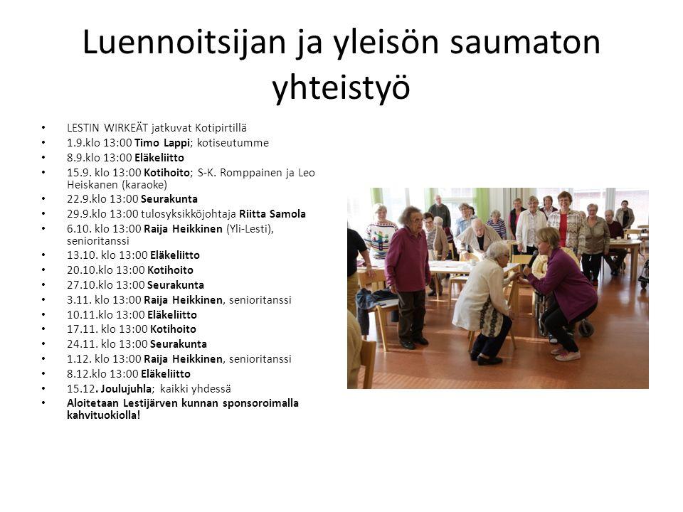 Luennoitsijan ja yleisön saumaton yhteistyö LESTIN WIRKEÄT jatkuvat Kotipirtillä 1.9.klo 13:00 Timo Lappi; kotiseutumme 8.9.klo 13:00 Eläkeliitto 15.9.