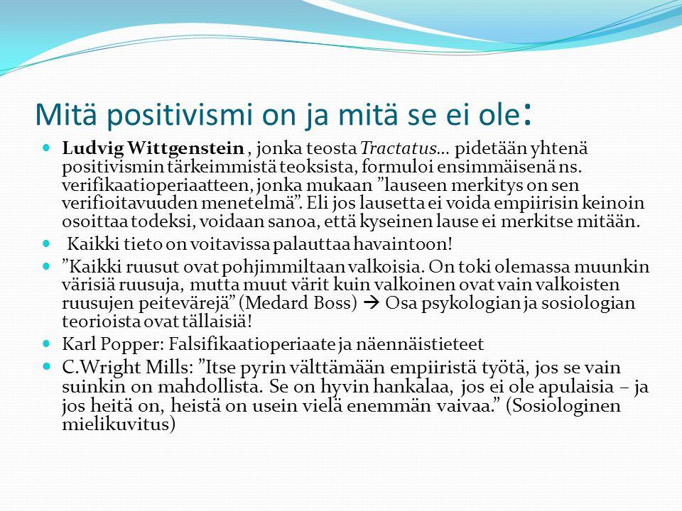 Mitä positivismi on ja mitä se ei ole : Ludvig Wittgenstein, jonka teosta Tractatus… pidetään yhtenä positivismin tärkeimmistä teoksista, formuloi ensimmäisenä ns.