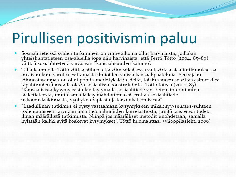 Pirullisen positivismin paluu Sosiaalitieteissä syiden tutkiminen on viime aikoina ollut harvinaista, joillakin yhteiskuntatieteen osa-alueilla jopa niin harvinaista, että Pertti Töttö (2004, 85–89) väittää sosiaalitieteitä vaivaavan kausaalisuuden kammo .