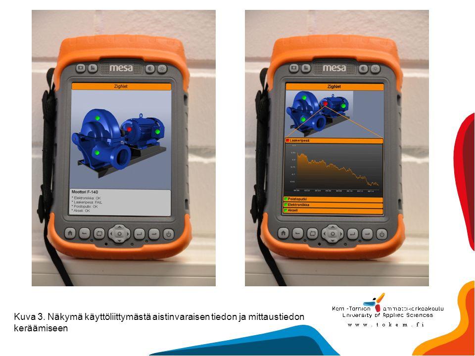 Kuva 3. Näkymä käyttöliittymästä aistinvaraisen tiedon ja mittaustiedon keräämiseen