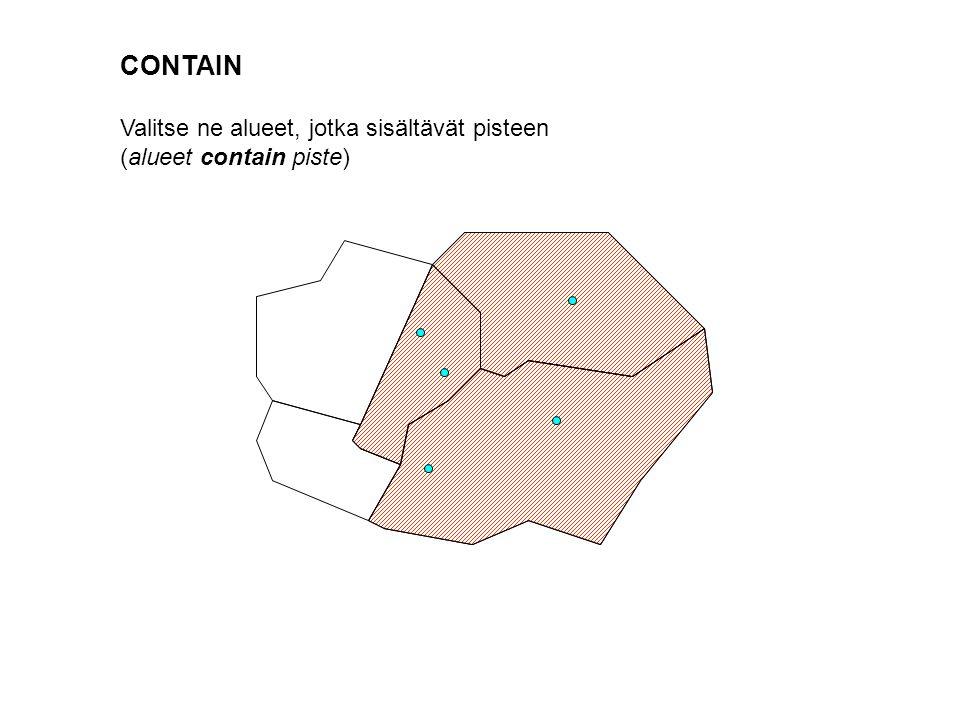 CONTAIN Valitse ne alueet, jotka sisältävät pisteen (alueet contain piste)