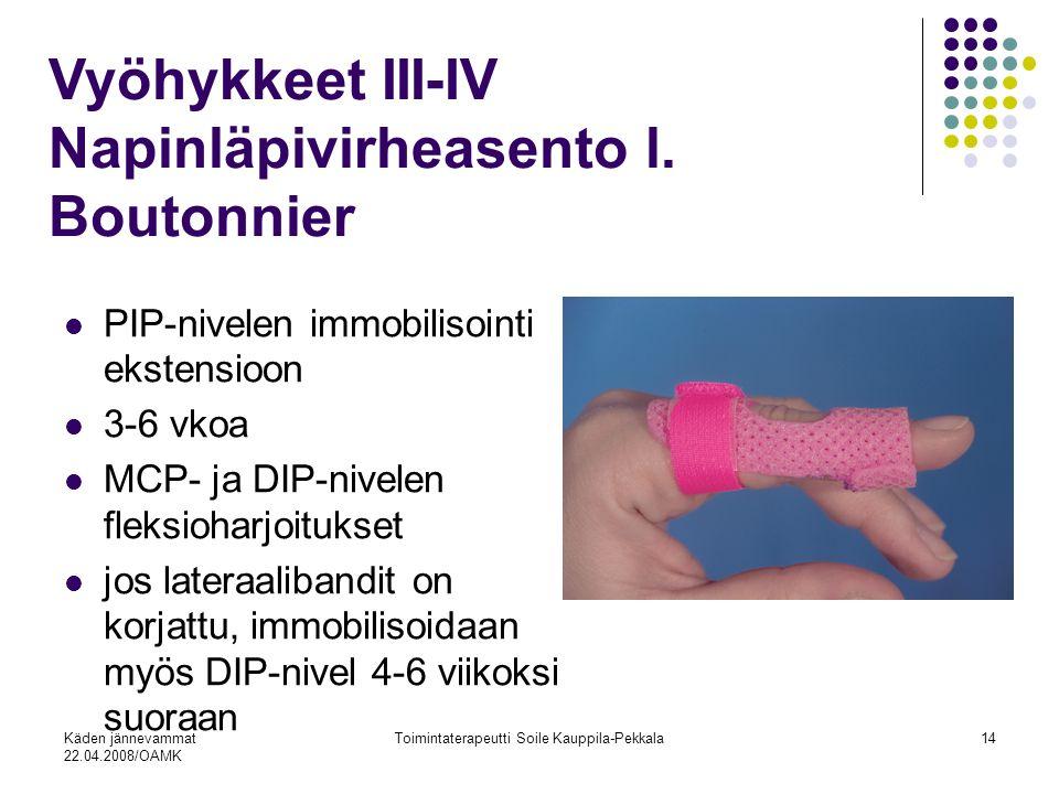 Käden jännevammat 22.04.2008/OAMK Toimintaterapeutti Soile Kauppila-Pekkala14 PIP-nivelen immobilisointi ekstensioon 3-6 vkoa MCP- ja DIP-nivelen fleksioharjoitukset jos lateraalibandit on korjattu, immobilisoidaan myös DIP-nivel 4-6 viikoksi suoraan Vyöhykkeet III-IV Napinläpivirheasento l.