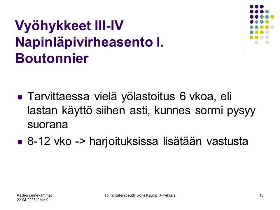 Käden jännevammat 22.04.2008/OAMK Toimintaterapeutti Soile Kauppila-Pekkala18 Vyöhykkeet III-IV Napinläpivirheasento l.