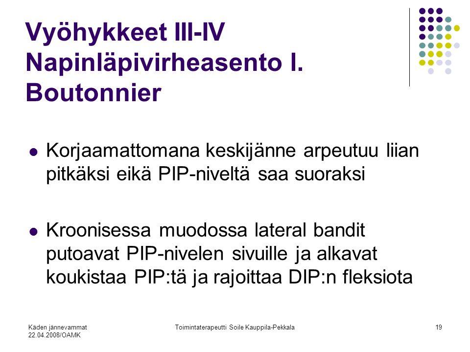 Käden jännevammat 22.04.2008/OAMK Toimintaterapeutti Soile Kauppila-Pekkala19 Vyöhykkeet III-IV Napinläpivirheasento l.