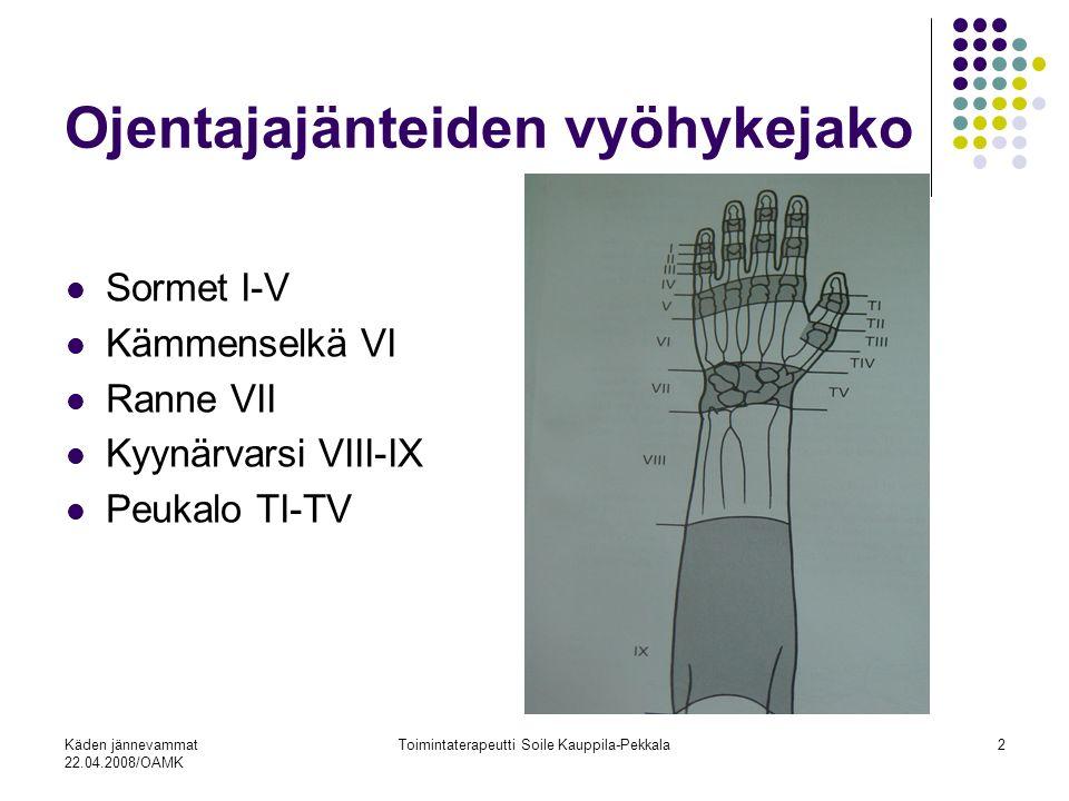 Käden jännevammat 22.04.2008/OAMK Toimintaterapeutti Soile Kauppila-Pekkala2 Ojentajajänteiden vyöhykejako Sormet I-V Kämmenselkä VI Ranne VII Kyynärvarsi VIII-IX Peukalo TI-TV