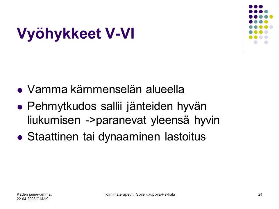 Käden jännevammat 22.04.2008/OAMK Toimintaterapeutti Soile Kauppila-Pekkala24 Vyöhykkeet V-VI Vamma kämmenselän alueella Pehmytkudos sallii jänteiden hyvän liukumisen ->paranevat yleensä hyvin Staattinen tai dynaaminen lastoitus