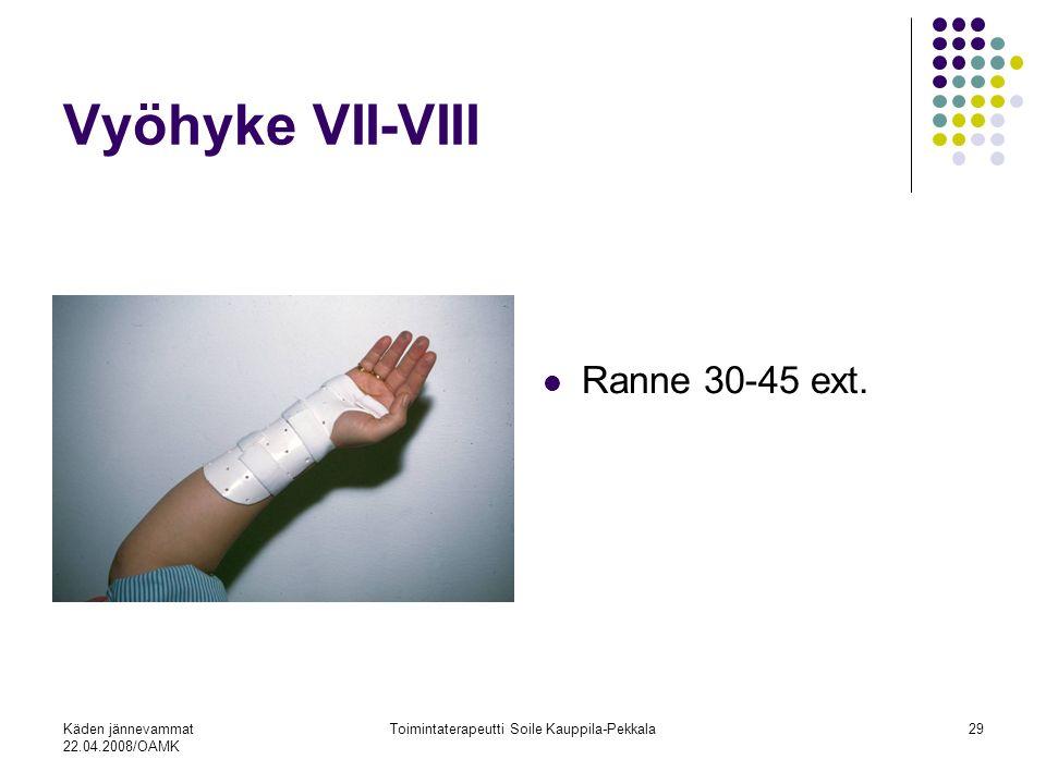 Käden jännevammat 22.04.2008/OAMK Toimintaterapeutti Soile Kauppila-Pekkala29 Vyöhyke VII-VIII Ranne 30-45 ext.