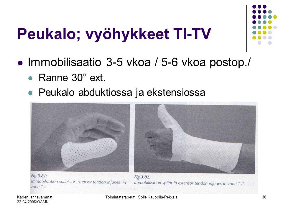Käden jännevammat 22.04.2008/OAMK Toimintaterapeutti Soile Kauppila-Pekkala30 Peukalo; vyöhykkeet TI-TV Immobilisaatio 3-5 vkoa / 5-6 vkoa postop./ Ranne 30° ext.