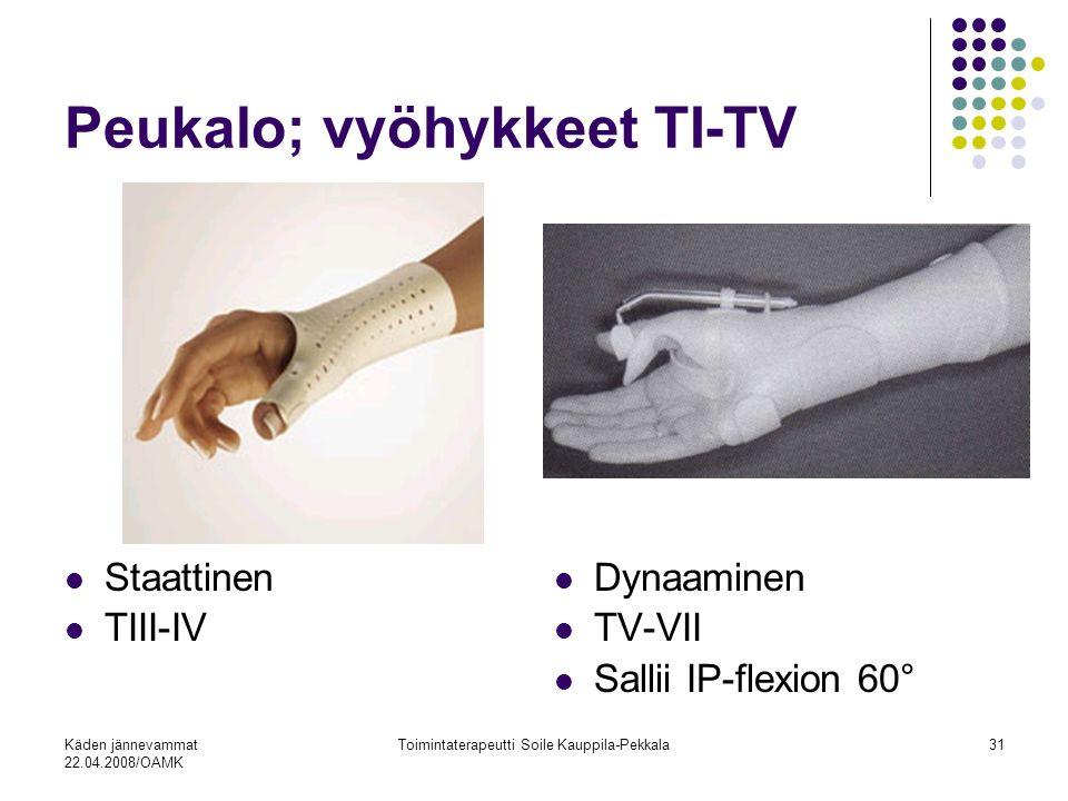 Käden jännevammat 22.04.2008/OAMK Toimintaterapeutti Soile Kauppila-Pekkala31 Staattinen TIII-IV Dynaaminen TV-VII Sallii IP-flexion 60° Peukalo; vyöhykkeet TI-TV