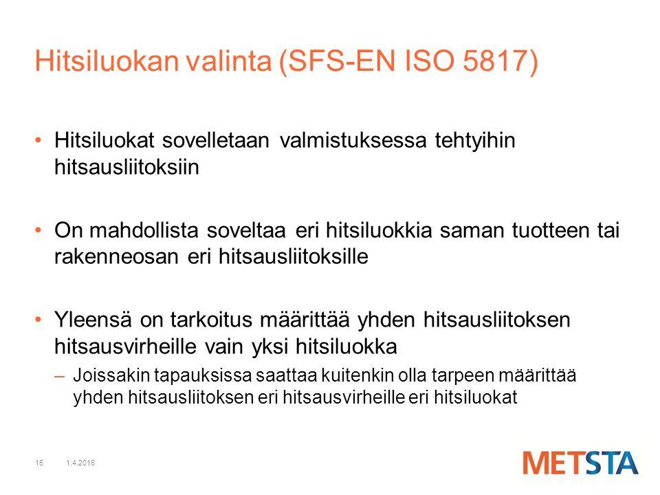 15 Hitsiluokat sovelletaan valmistuksessa tehtyihin hitsausliitoksiin On mahdollista soveltaa eri hitsiluokkia saman tuotteen tai rakenneosan eri hitsausliitoksille Yleensä on tarkoitus määrittää yhden hitsausliitoksen hitsausvirheille vain yksi hitsiluokka –Joissakin tapauksissa saattaa kuitenkin olla tarpeen määrittää yhden hitsausliitoksen eri hitsausvirheille eri hitsiluokat 1.4.2016 Hitsiluokan valinta (SFS-EN ISO 5817)