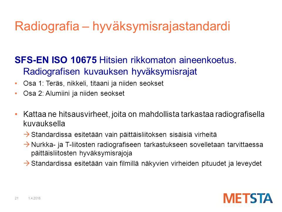 21 Radiografia – hyväksymisrajastandardi SFS-EN ISO 10675 Hitsien rikkomaton aineenkoetus.