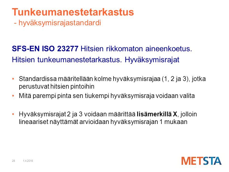 26 Tunkeumanestetarkastus - hyväksymisrajastandardi SFS-EN ISO 23277 Hitsien rikkomaton aineenkoetus.