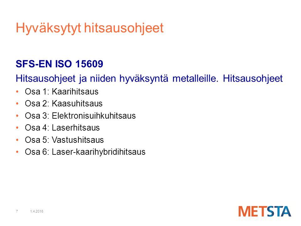7 Hyväksytyt hitsausohjeet SFS-EN ISO 15609 Hitsausohjeet ja niiden hyväksyntä metalleille.