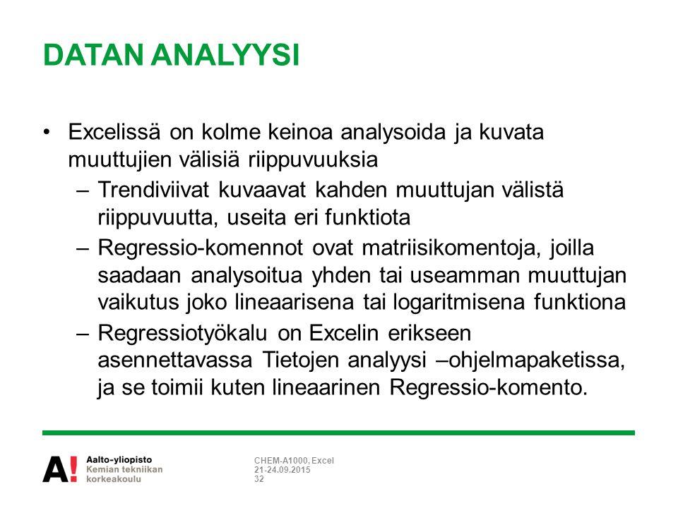 DATAN ANALYYSI Excelissä on kolme keinoa analysoida ja kuvata muuttujien välisiä riippuvuuksia –Trendiviivat kuvaavat kahden muuttujan välistä riippuvuutta, useita eri funktiota –Regressio-komennot ovat matriisikomentoja, joilla saadaan analysoitua yhden tai useamman muuttujan vaikutus joko lineaarisena tai logaritmisena funktiona –Regressiotyökalu on Excelin erikseen asennettavassa Tietojen analyysi –ohjelmapaketissa, ja se toimii kuten lineaarinen Regressio-komento.