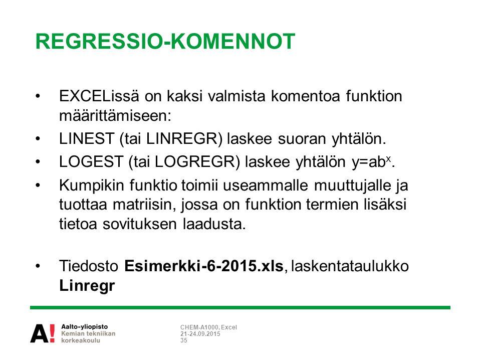 REGRESSIO-KOMENNOT 21-24.09.2015 CHEM-A1000, Excel 35 EXCELissä on kaksi valmista komentoa funktion määrittämiseen: LINEST (tai LINREGR) laskee suoran yhtälön.