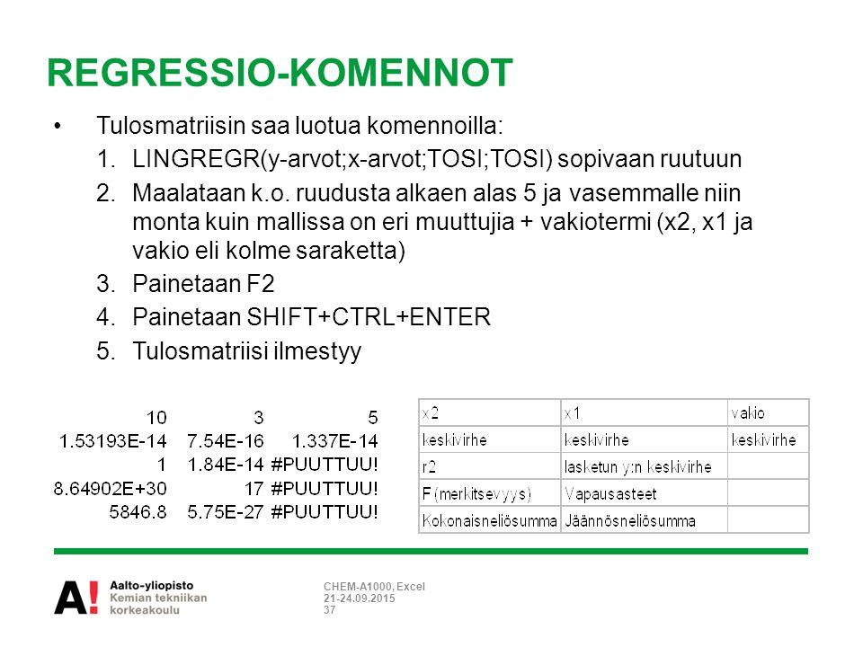 REGRESSIO-KOMENNOT Tulosmatriisin saa luotua komennoilla: 1.LINGREGR(y-arvot;x-arvot;TOSI;TOSI) sopivaan ruutuun 2.Maalataan k.o.
