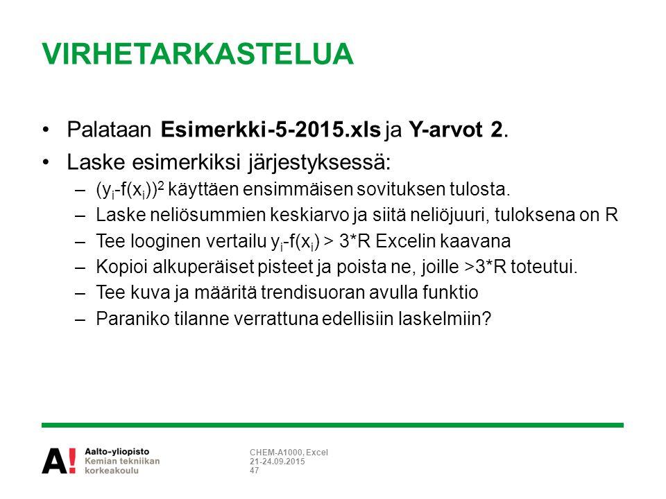 VIRHETARKASTELUA Palataan Esimerkki-5-2015.xls ja Y-arvot 2.