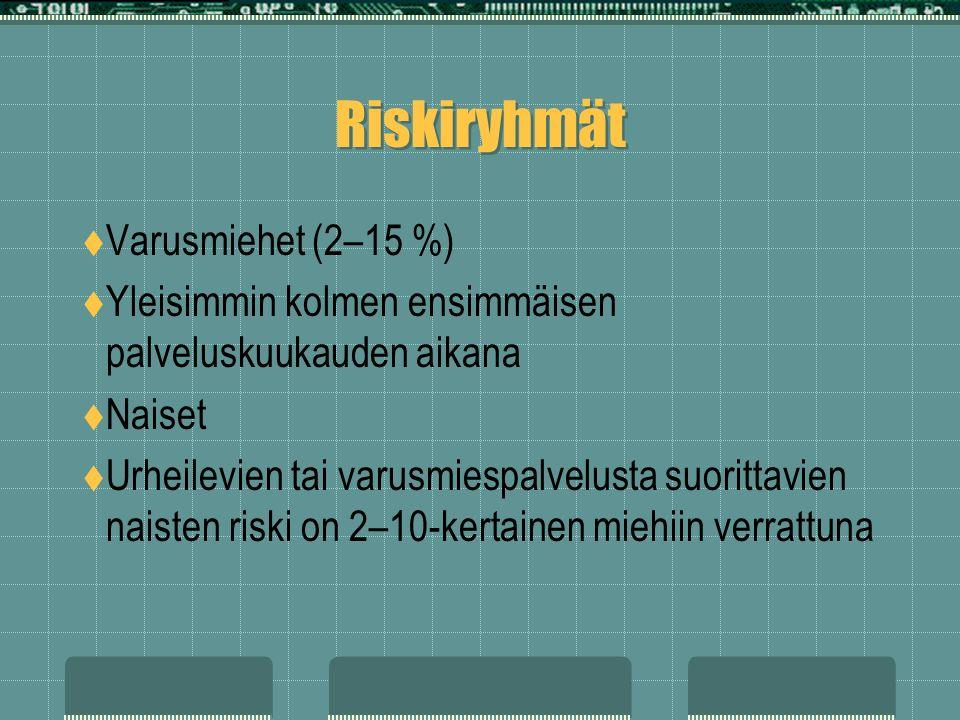 Riskiryhmät  Varusmiehet (2–15 %)  Yleisimmin kolmen ensimmäisen palveluskuukauden aikana  Naiset  Urheilevien tai varusmiespalvelusta suorittavien naisten riski on 2–10-kertainen miehiin verrattuna