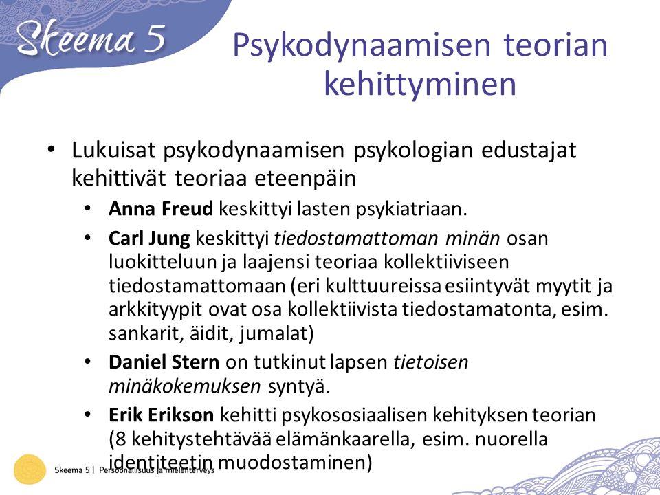 Psykodynaamisen teorian kehittyminen Lukuisat psykodynaamisen psykologian edustajat kehittivät teoriaa eteenpäin Anna Freud keskittyi lasten psykiatriaan.