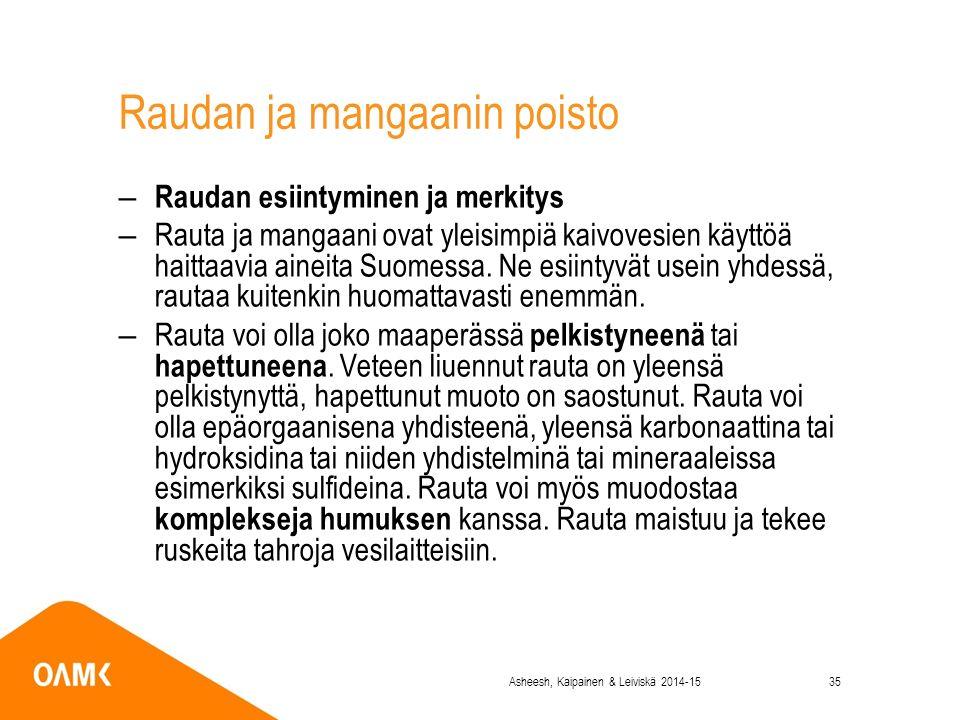 Raudan ja mangaanin poisto – Raudan esiintyminen ja merkitys –Rauta ja mangaani ovat yleisimpiä kaivovesien käyttöä haittaavia aineita Suomessa.