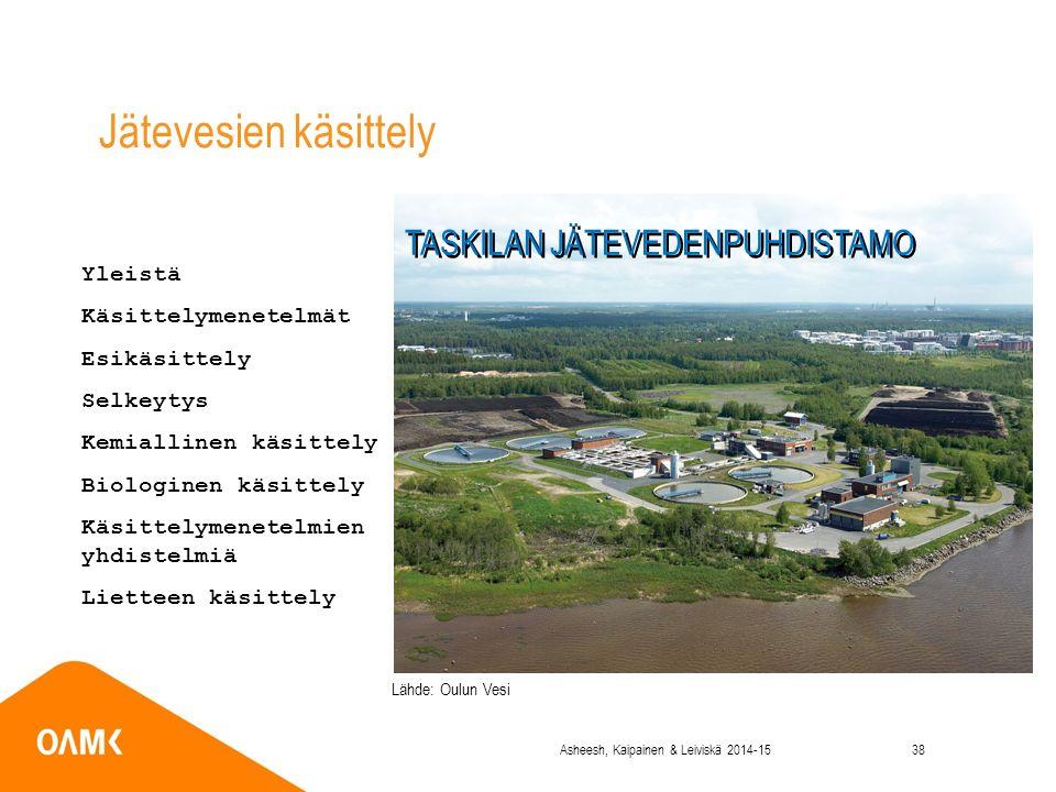 Yleistä Käsittelymenetelmät Esikäsittely Selkeytys Kemiallinen käsittely Biologinen käsittely Käsittelymenetelmien yhdistelmiä Lietteen käsittely Jätevesien käsittely TASKILAN JÄTEVEDENPUHDISTAMO Lähde: Oulun Vesi Asheesh, Kaipainen & Leiviskä 2014-1538