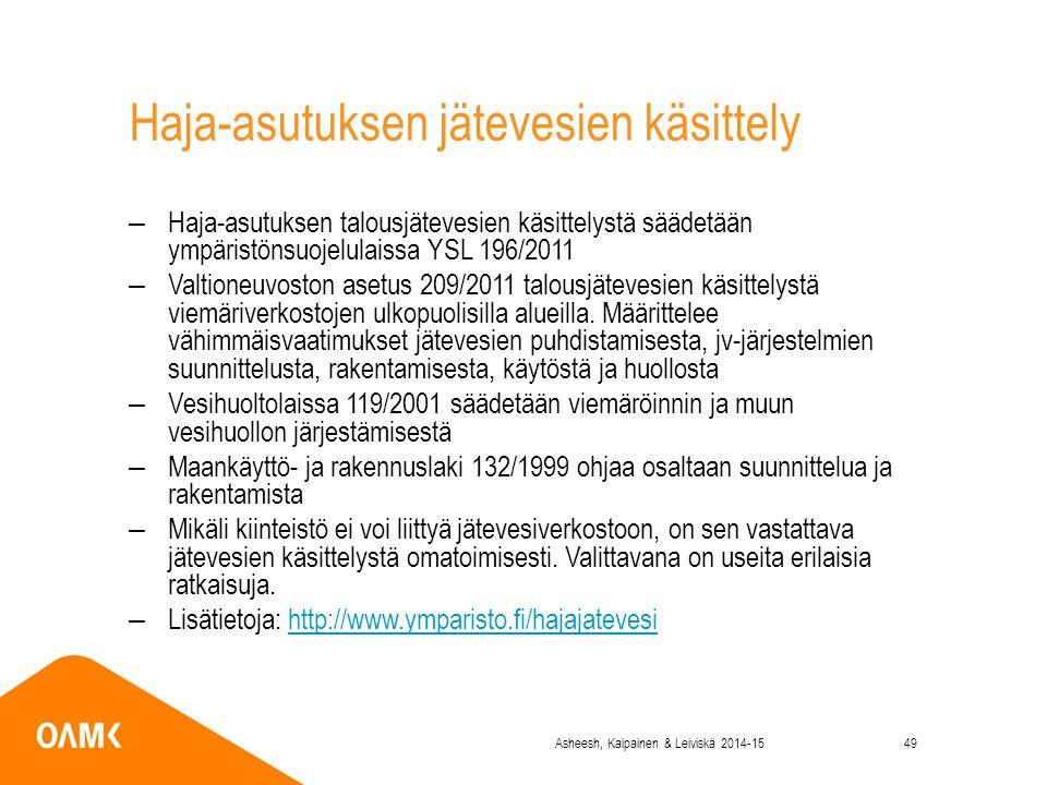 Haja-asutuksen jätevesien käsittely –Haja-asutuksen talousjätevesien käsittelystä säädetään ympäristönsuojelulaissa YSL 196/2011 –Valtioneuvoston asetus 209/2011 talousjätevesien käsittelystä viemäriverkostojen ulkopuolisilla alueilla.