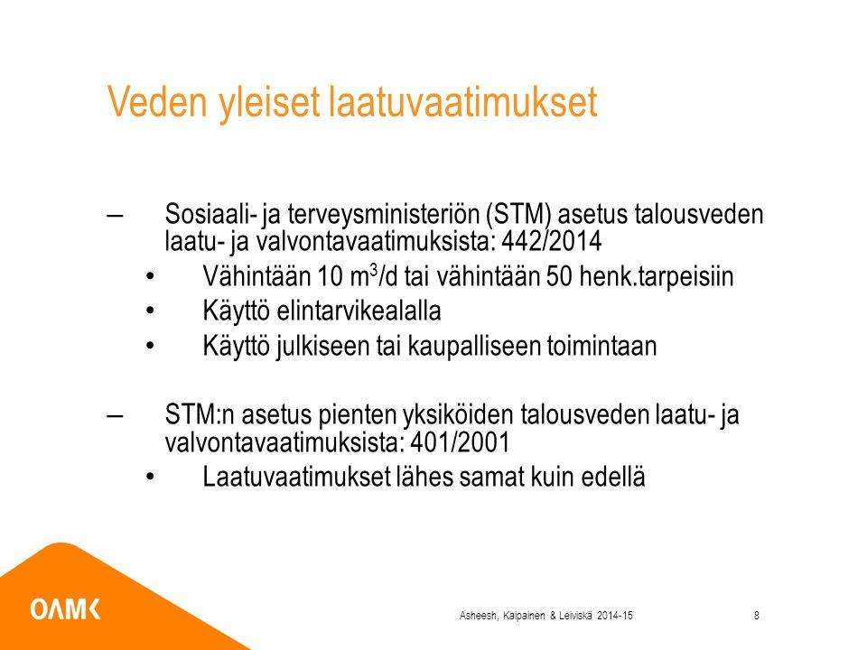 Veden yleiset laatuvaatimukset –Sosiaali- ja terveysministeriön (STM) asetus talousveden laatu- ja valvontavaatimuksista: 442/2014 Vähintään 10 m 3 /d tai vähintään 50 henk.tarpeisiin Käyttö elintarvikealalla Käyttö julkiseen tai kaupalliseen toimintaan –STM:n asetus pienten yksiköiden talousveden laatu- ja valvontavaatimuksista: 401/2001 Laatuvaatimukset lähes samat kuin edellä Asheesh, Kaipainen & Leiviskä 2014-158