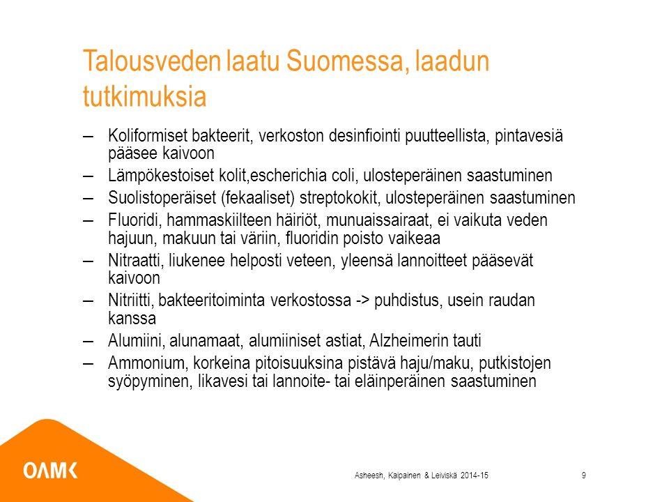 Talousveden laatu Suomessa, laadun tutkimuksia –Koliformiset bakteerit, verkoston desinfiointi puutteellista, pintavesiä pääsee kaivoon –Lämpökestoiset kolit,escherichia coli, ulosteperäinen saastuminen –Suolistoperäiset (fekaaliset) streptokokit, ulosteperäinen saastuminen –Fluoridi, hammaskiilteen häiriöt, munuaissairaat, ei vaikuta veden hajuun, makuun tai väriin, fluoridin poisto vaikeaa –Nitraatti, liukenee helposti veteen, yleensä lannoitteet pääsevät kaivoon –Nitriitti, bakteeritoiminta verkostossa -> puhdistus, usein raudan kanssa –Alumiini, alunamaat, alumiiniset astiat, Alzheimerin tauti –Ammonium, korkeina pitoisuuksina pistävä haju/maku, putkistojen syöpyminen, likavesi tai lannoite- tai eläinperäinen saastuminen Asheesh, Kaipainen & Leiviskä 2014-159