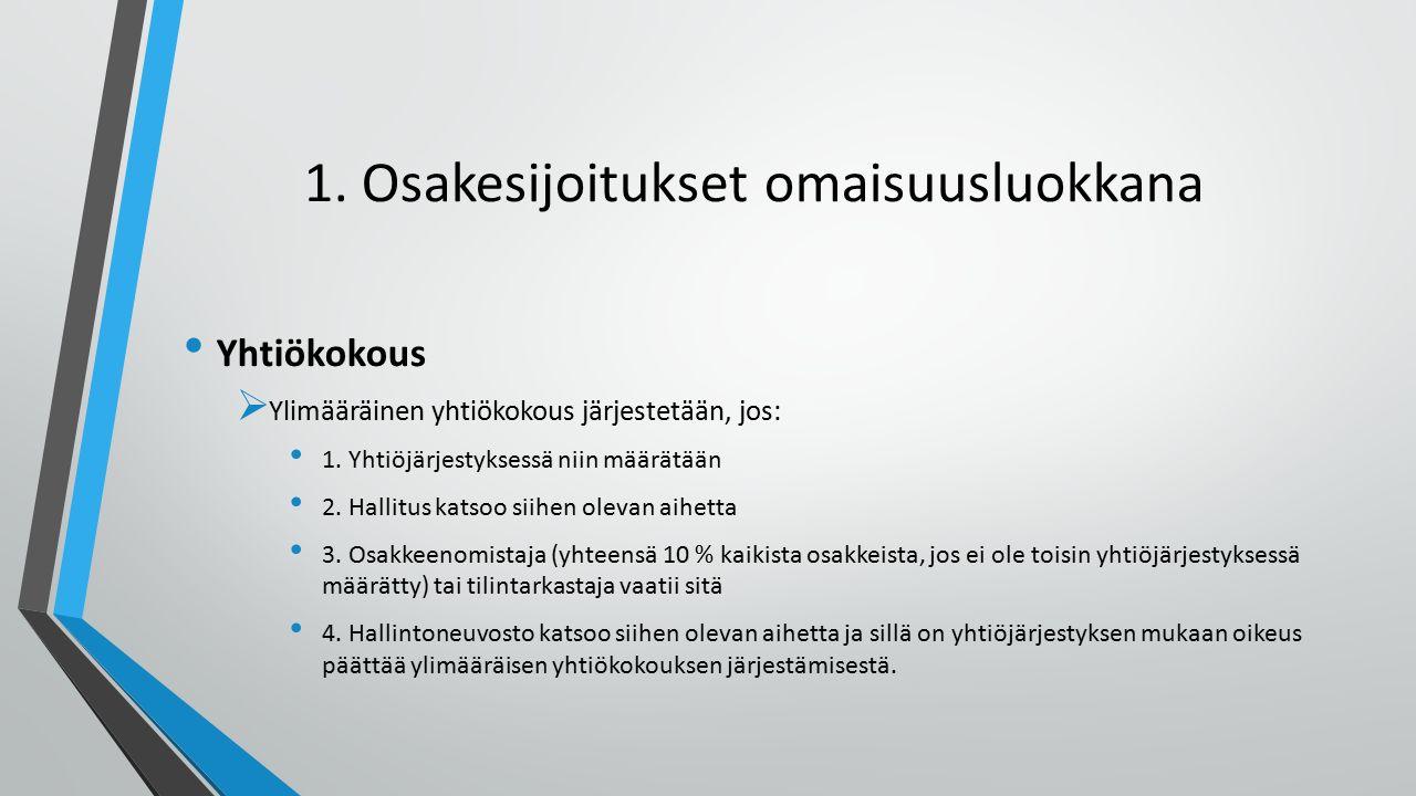 1. Osakesijoitukset omaisuusluokkana Yhtiökokous  Ylimääräinen yhtiökokous järjestetään, jos: 1.