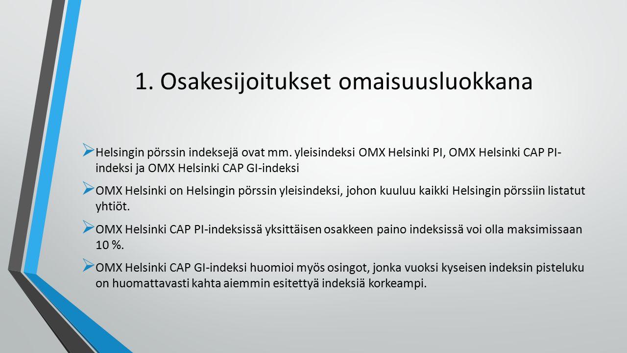 1. Osakesijoitukset omaisuusluokkana  Helsingin pörssin indeksejä ovat mm.
