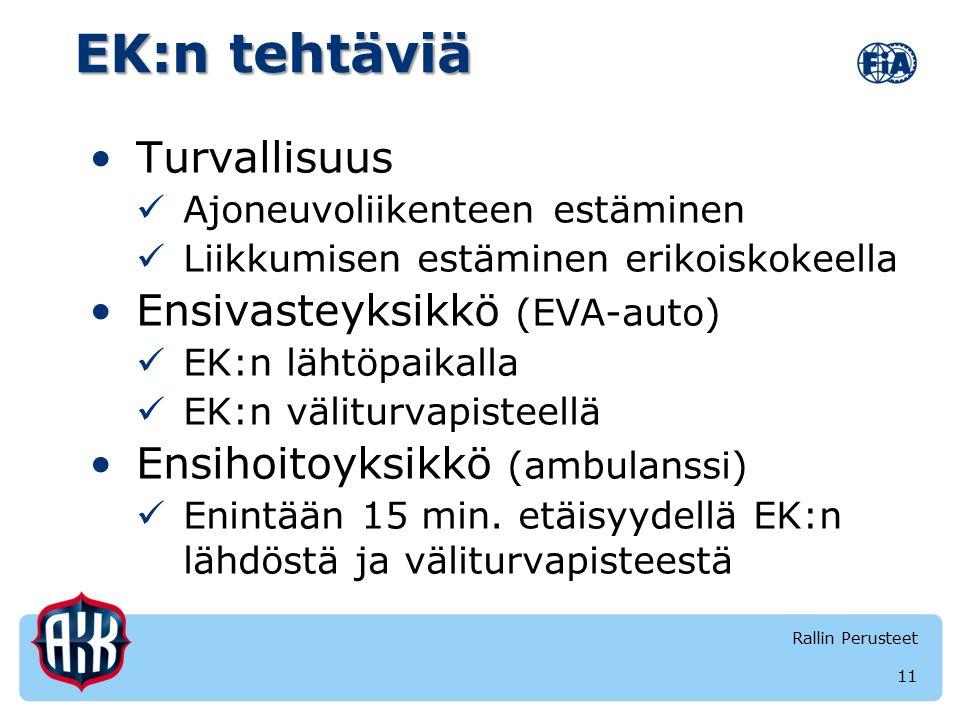 EK:n tehtäviä Turvallisuus Ajoneuvoliikenteen estäminen Liikkumisen estäminen erikoiskokeella Ensivasteyksikkö (EVA-auto) EK:n lähtöpaikalla EK:n väliturvapisteellä Ensihoitoyksikkö (ambulanssi) Enintään 15 min.
