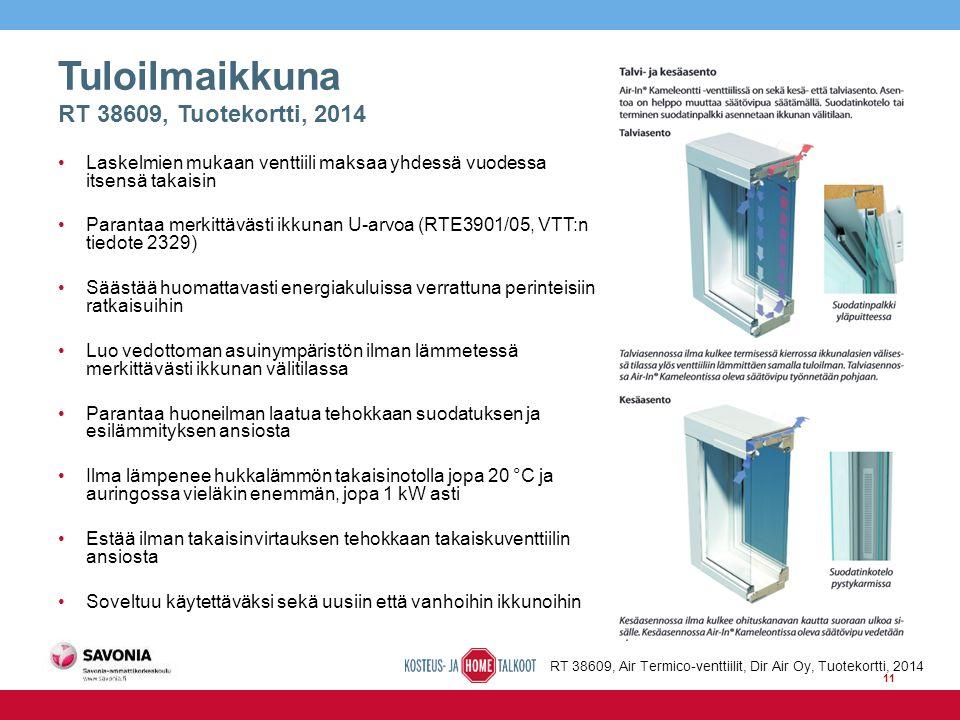 Tuloilmaikkuna RT 38609, Tuotekortti, 2014 Laskelmien mukaan venttiili maksaa yhdessä vuodessa itsensä takaisin Parantaa merkittävästi ikkunan U-arvoa (RTE3901/05, VTT:n tiedote 2329) Säästää huomattavasti energiakuluissa verrattuna perinteisiin ratkaisuihin Luo vedottoman asuinympäristön ilman lämmetessä merkittävästi ikkunan välitilassa Parantaa huoneilman laatua tehokkaan suodatuksen ja esilämmityksen ansiosta Ilma lämpenee hukkalämmön takaisinotolla jopa 20 °C ja auringossa vieläkin enemmän, jopa 1 kW asti Estää ilman takaisinvirtauksen tehokkaan takaiskuventtiilin ansiosta Soveltuu käytettäväksi sekä uusiin että vanhoihin ikkunoihin RT 38609, Air Termico-venttiilit, Dir Air Oy, Tuotekortti, 2014 11