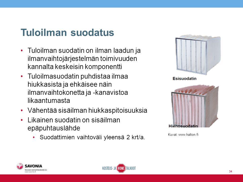 Tuloilman suodatus Tuloilman suodatin on ilman laadun ja ilmanvaihtojärjestelmän toimivuuden kannalta keskeisin komponentti Tuloilmasuodatin puhdistaa ilmaa hiukkasista ja ehkäisee näin ilmanvaihtokonetta ja -kanavistoa likaantumasta Vähentää sisäilman hiukkaspitoisuuksia Likainen suodatin on sisäilman epäpuhtauslähde Suodattimien vaihtoväli yleensä 2 krt/a.