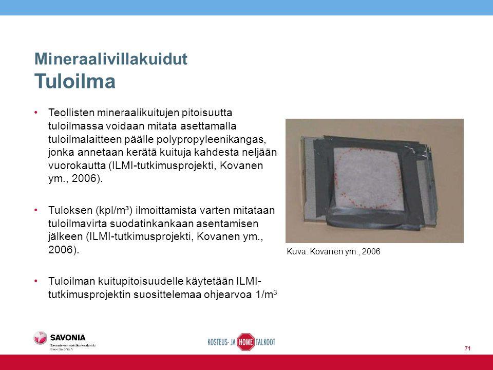 Mineraalivillakuidut Tuloilma Teollisten mineraalikuitujen pitoisuutta tuloilmassa voidaan mitata asettamalla tuloilmalaitteen päälle polypropyleenikangas, jonka annetaan kerätä kuituja kahdesta neljään vuorokautta (ILMI-tutkimusprojekti, Kovanen ym., 2006).