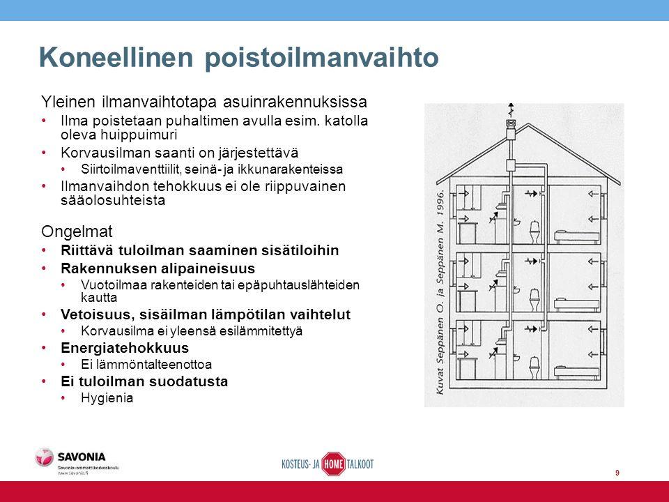 9 Koneellinen poistoilmanvaihto Yleinen ilmanvaihtotapa asuinrakennuksissa Ilma poistetaan puhaltimen avulla esim.