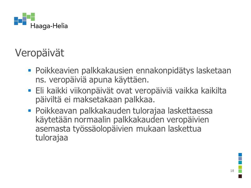 Veropäivät  Poikkeavien palkkakausien ennakonpidätys lasketaan ns.
