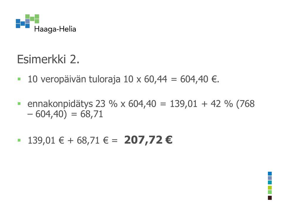 Esimerkki 2.  10 veropäivän tuloraja 10 x 60,44 = 604,40 €.