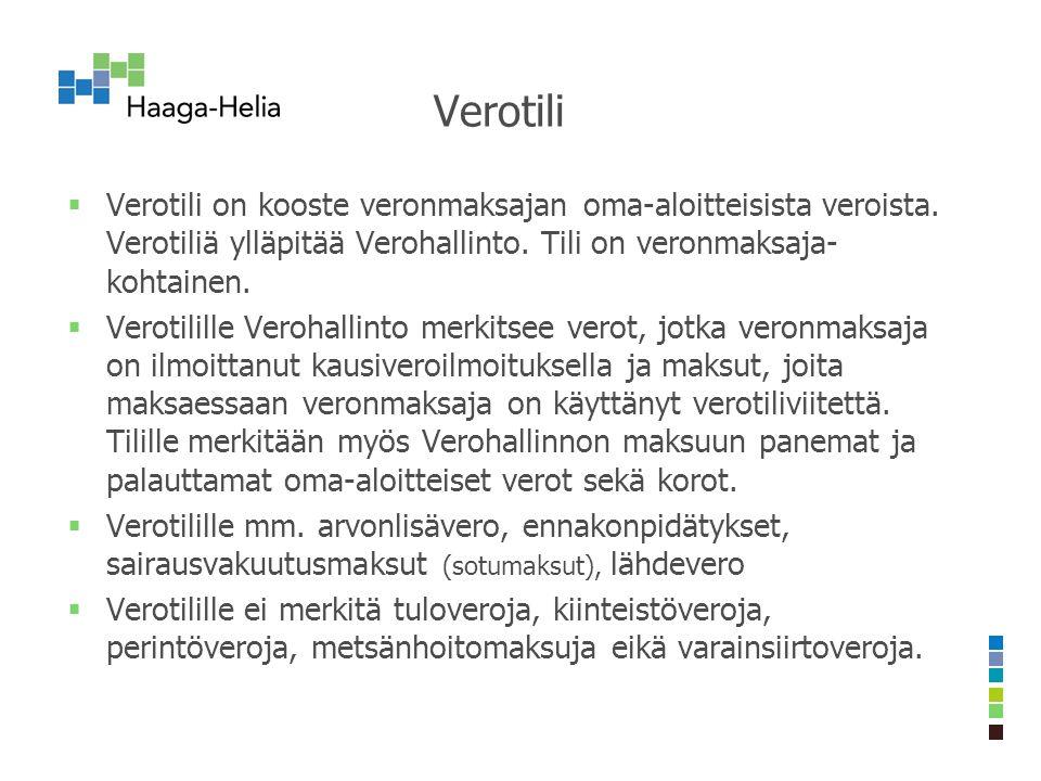 Verotili  Verotili on kooste veronmaksajan oma-aloitteisista veroista.