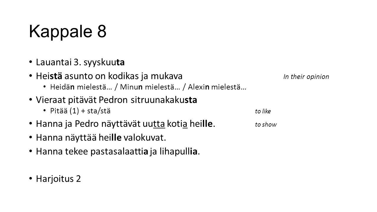 Kappale 8 Lauantai 3.