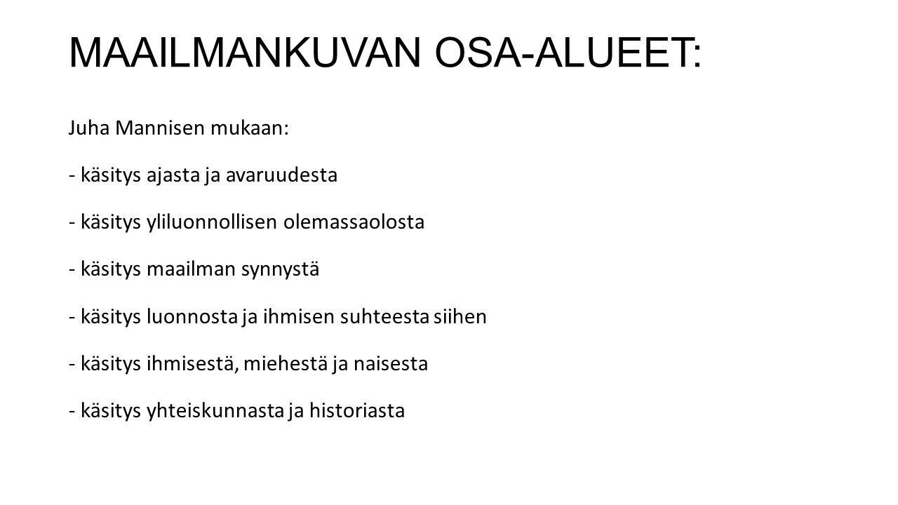 MAAILMANKUVAN OSA-ALUEET: Juha Mannisen mukaan: - käsitys ajasta ja avaruudesta - käsitys yliluonnollisen olemassaolosta - käsitys maailman synnystä - käsitys luonnosta ja ihmisen suhteesta siihen - käsitys ihmisestä, miehestä ja naisesta - käsitys yhteiskunnasta ja historiasta