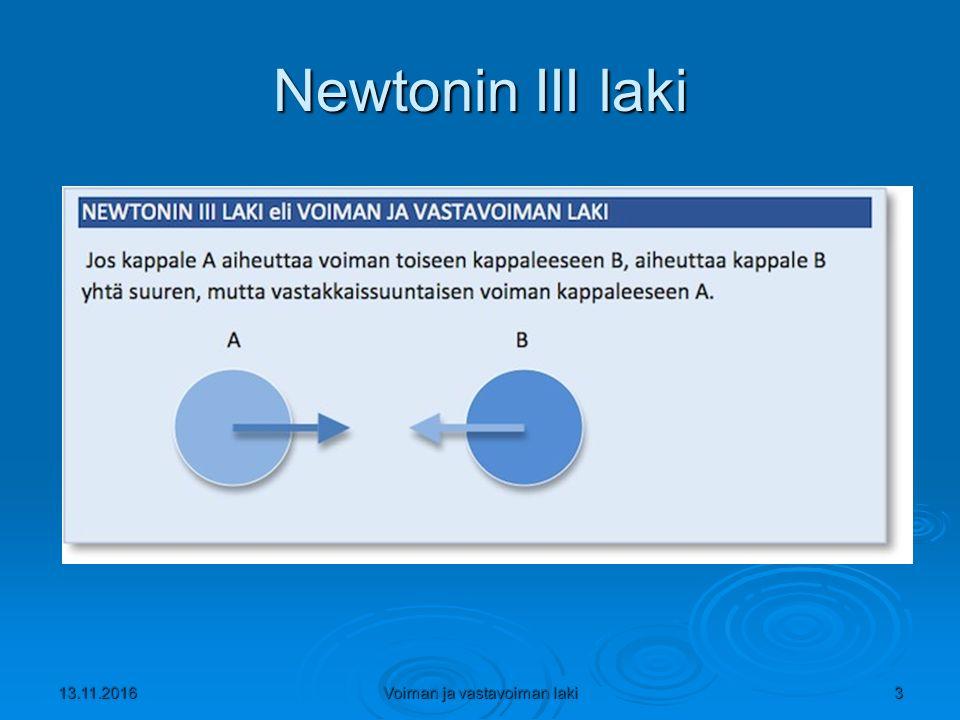 Newtonin III laki 13.11.2016Voiman ja vastavoiman laki3
