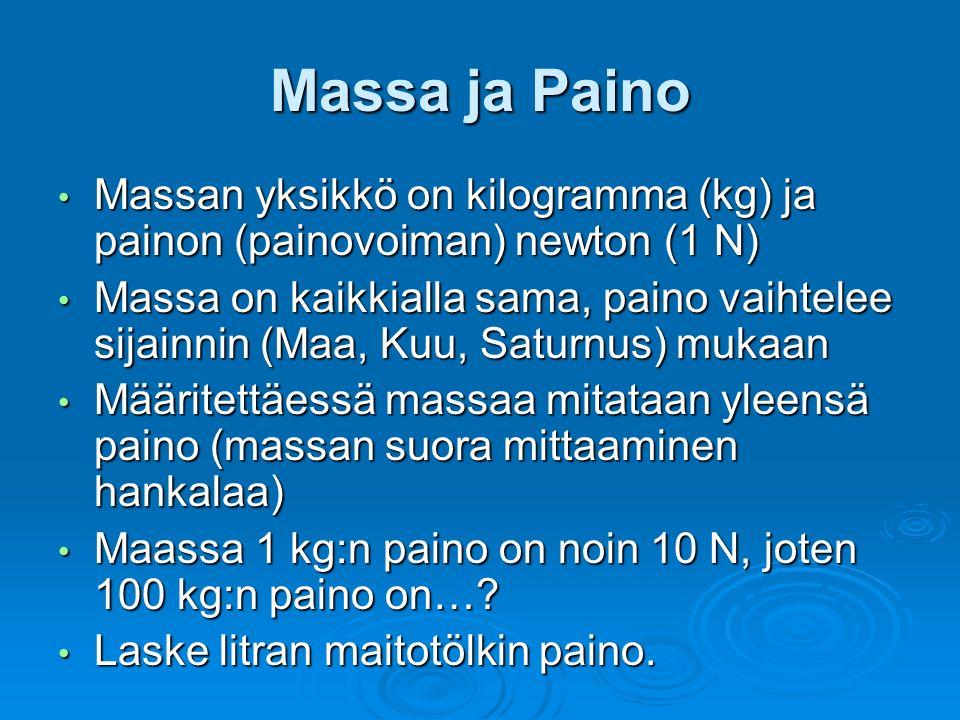 Massa ja Paino Massan yksikkö on kilogramma (kg) ja painon (painovoiman) newton (1 N) Massan yksikkö on kilogramma (kg) ja painon (painovoiman) newton (1 N) Massa on kaikkialla sama, paino vaihtelee sijainnin (Maa, Kuu, Saturnus) mukaan Massa on kaikkialla sama, paino vaihtelee sijainnin (Maa, Kuu, Saturnus) mukaan Määritettäessä massaa mitataan yleensä paino (massan suora mittaaminen hankalaa) Määritettäessä massaa mitataan yleensä paino (massan suora mittaaminen hankalaa) Maassa 1 kg:n paino on noin 10 N, joten 100 kg:n paino on….