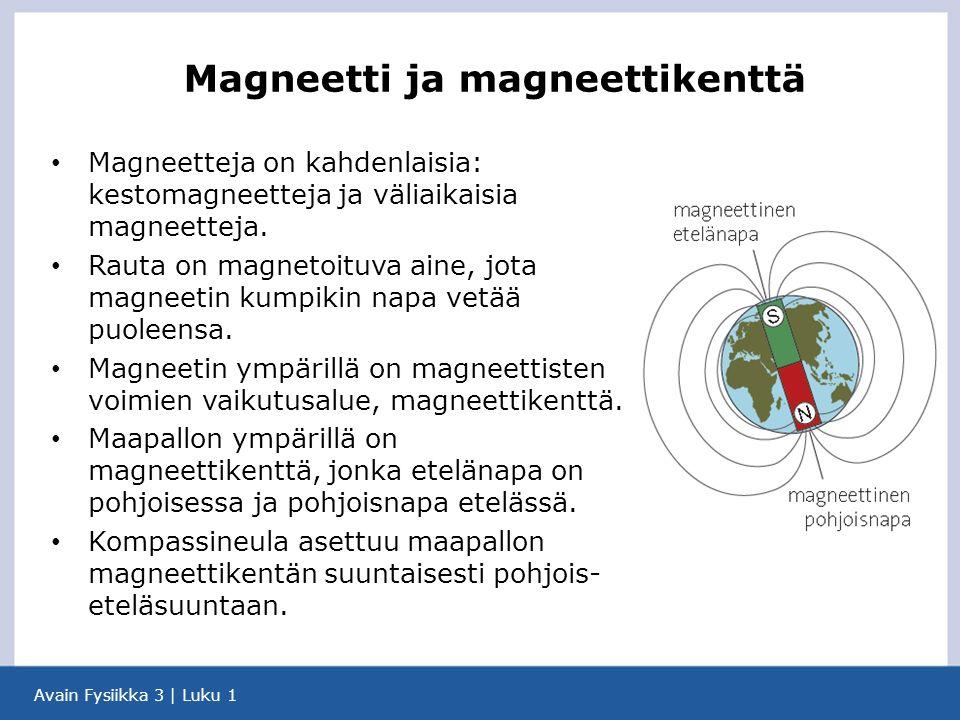 Avain Fysiikka 3 | Luku 1 Magneetteja on kahdenlaisia: kestomagneetteja ja väliaikaisia magneetteja.