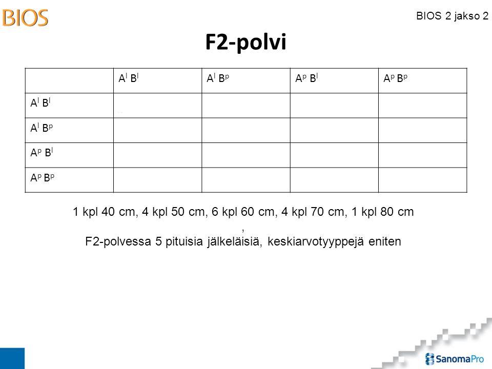BIOS 2 jakso 2 F2-polvi A l B l A l B p A p B l A p B p A l B l A l B p A p B l A p B p 1 kpl 40 cm, 4 kpl 50 cm, 6 kpl 60 cm, 4 kpl 70 cm, 1 kpl 80 cm, F2-polvessa 5 pituisia jälkeläisiä, keskiarvotyyppejä eniten