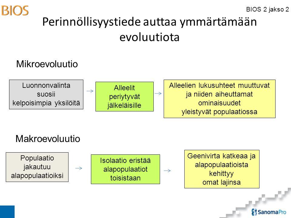 BIOS 2 jakso 2 Perinnöllisyystiede auttaa ymmärtämään evoluutiota Alleelien lukusuhteet muuttuvat ja niiden aiheuttamat ominaisuudet yleistyvät populaatiossa Geenivirta katkeaa ja alapopulaatioista kehittyy omat lajinsa Luonnonvalinta suosii kelpoisimpia yksilöitä Alleelit periytyvät jälkeläisille Isolaatio eristää alapopulaatiot toisistaan Populaatio jakautuu alapopulaatioiksi Mikroevoluutio Makroevoluutio
